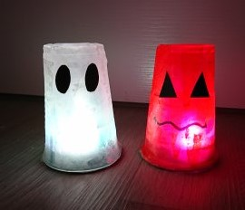 Hallowwen ghost and pumpkin lanterns
