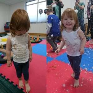 Messy play - before and after