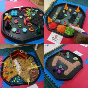 Messy play station ideas - Cooked coloured spaghetti, cereal farm, dried coloured rice and playdough