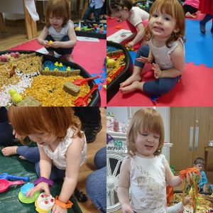 Messy Play fun- lots of different materials and textures, from Spaghetti junction, a rice tea party and a cereal farm.